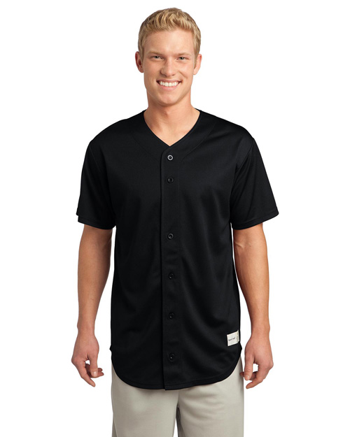 Sport-Tek ST220 Men Posicharge Tough Mesh Full-Button Jersey Black at bigntallapparel
