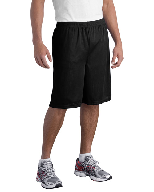 Sport-Tek ST515 Long PosiCharge Classic Mesh ™  Short.  Black at bigntallapparel