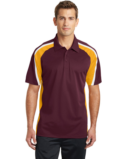 Sport-Tek ST654 Tricolor Micropique Sport-Wick Polo.  Maroon/Gold/White at bigntallapparel