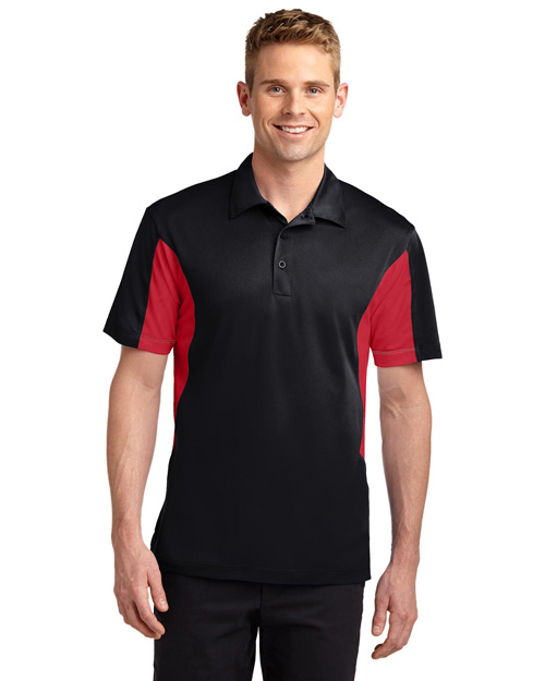 Sport-Tek ST655 Men Side Blocked Micropique  Wick Sport Shirt Black/Red at bigntallapparel