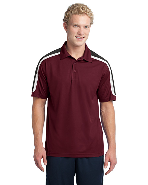 Sport-Tek ST658 Tricolor Shoulder Micropique Sport-Wick Polo.  Maroon/Black/White at bigntallapparel