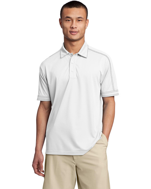 Sport-Tek ST659 Contrast Stitch Micropique Sport-WickSport Shirt. White at bigntallapparel
