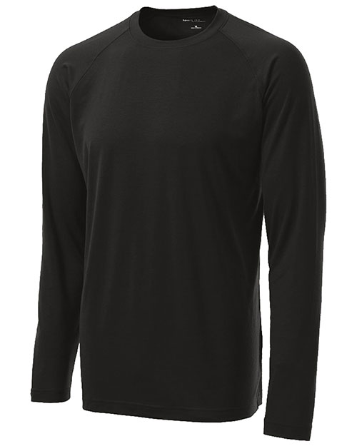 Sport-Tek ST700LS Long Sleeve Ultimate Performance Crew. Black at bigntallapparel