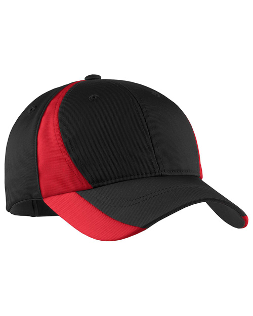 Sport-Tek STC11 Mens Dry Zone Nylon Colorblock Cap Black/True Red at bigntallapparel