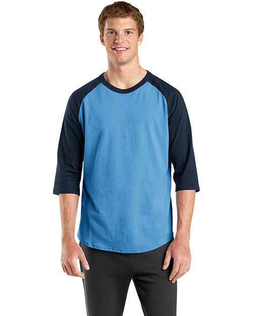 Sport-Tek T200 Mens Colorblock Raglan Jersey Carolina Blue/Navy at bigntallapparel