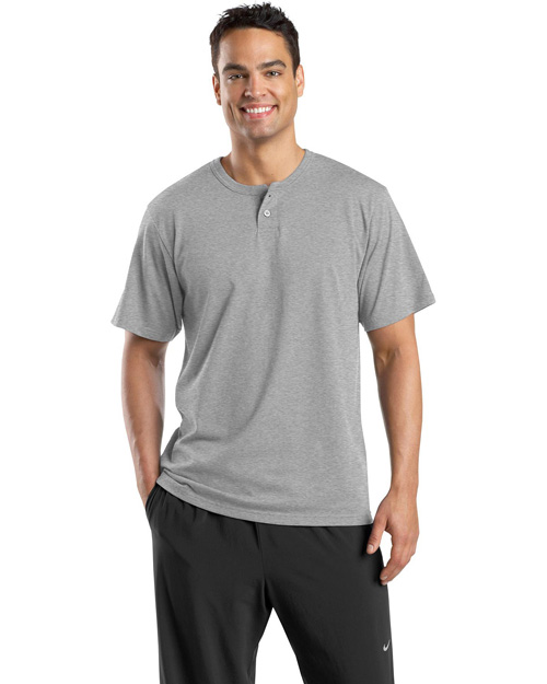 Sport-Tek T210 Mens Short Sleeve Henley Heather Grey at bigntallapparel