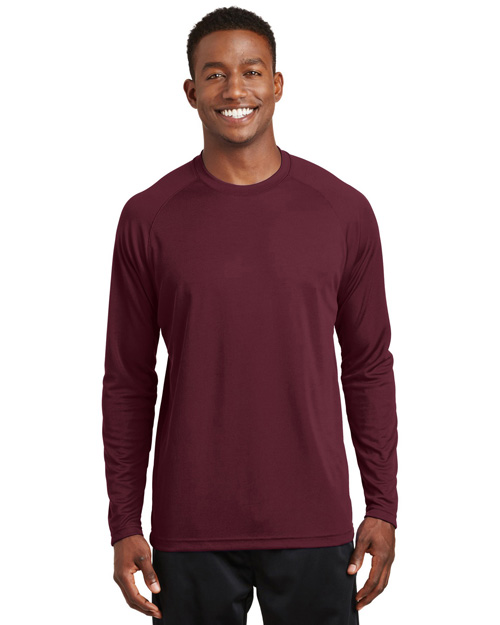 Sport-Tek T473LS Mens Dry Zone Long Sleeve Raglan T Shirt Maroon at bigntallapparel