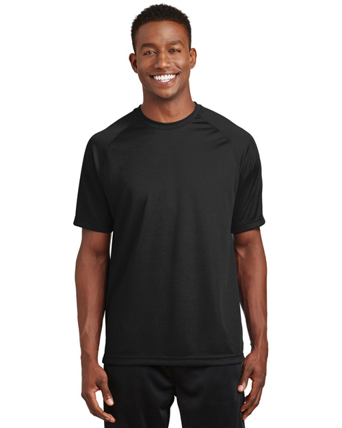 Sport-Tek T473 Mens Raglan Sleeve T Shirt with Wicking And AntiMicrobial Treatments Black at bigntallapparel