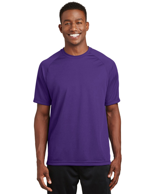 Sport-Tek T473 Mens Raglan Sleeve T Shirt with Wicking And AntiMicrobial Treatments PURPLE at bigntallapparel