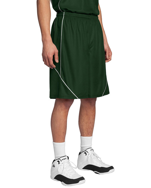 Sport-Tek T565 Men Posicharge Mesh Reversible Spliced Short Forest Green at bigntallapparel
