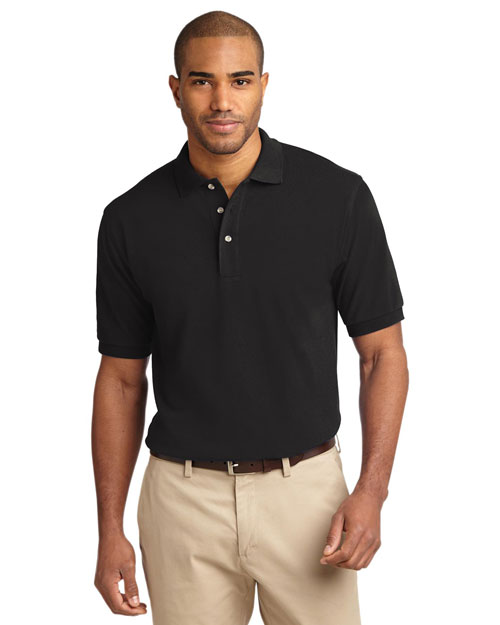 Port Authority TLK420 Mens Pique Knit Polo Sport Shirt Black at bigntallapparel