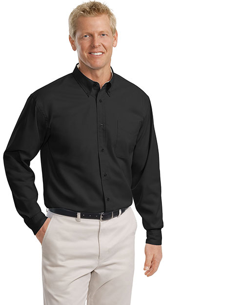 Port Authority TLS608 Men Tall Long Sleeve Easy Care Shirt Black/Light Stone at bigntallapparel
