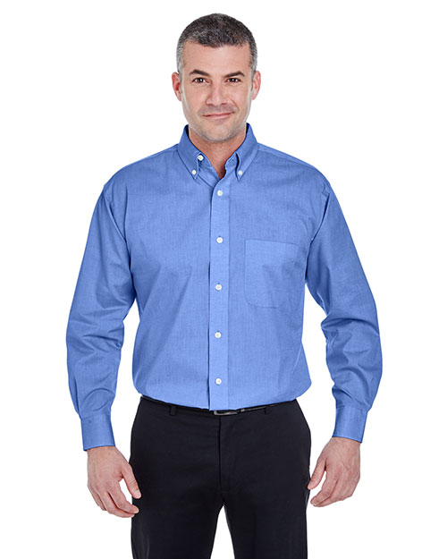 Ultraclub 8360 Men Longsleeve Performance Pinpoint French Blue at bigntallapparel