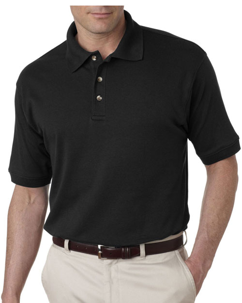 Ultraclub 8505    ® Men's Egyptian Interlock Polo  Black at bigntallapparel