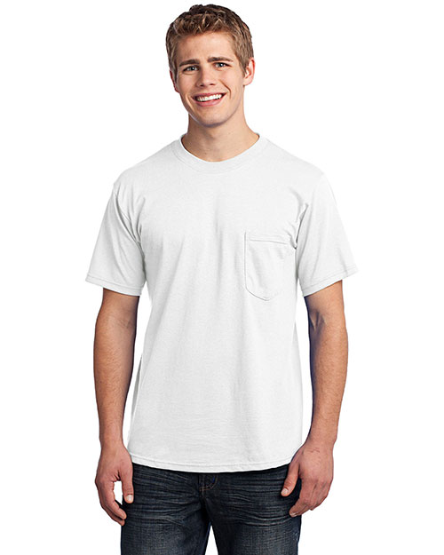 Port & Company USA100P All-American Tee with Pocket.  White at bigntallapparel