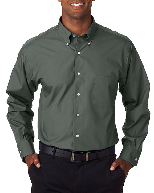 VAN HEUSEN V0113     Men's Long-Sleeve Silky Poplin  Bayleaf at bigntallapparel