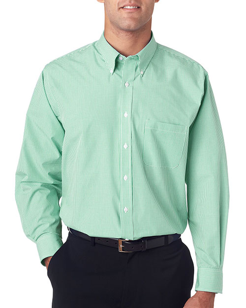 VAN HEUSEN V0225     Men's Long-Sleeve Yard-Dyed Gingham Check  Green Chicory at bigntallapparel