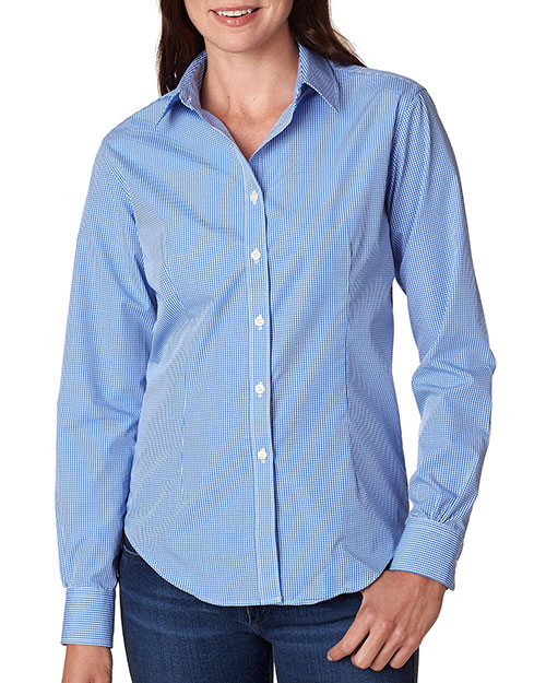 VAN HEUSEN V0226     Ladies' Long-Sleeve Yarn-Dyed Gingham Check  Perwinkle at bigntallapparel