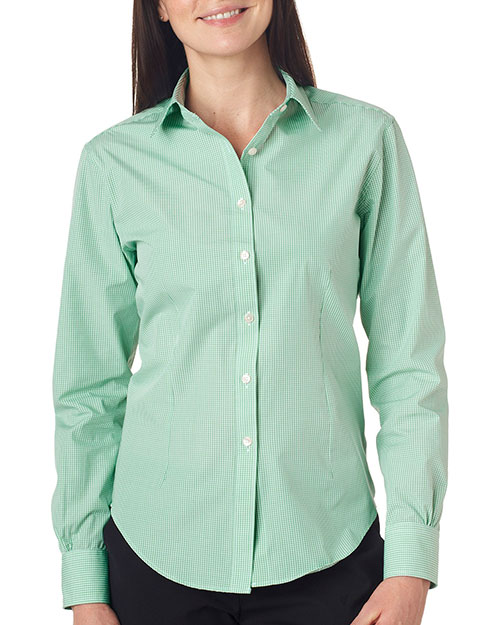 VAN HEUSEN V0226     Ladies' Long-Sleeve Yarn-Dyed Gingham Check  Green Chicory at bigntallapparel