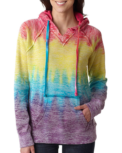 Weatherproof W1162     Ladies' Courtney Burnout Hooded Pullover Blend Fleece  Rainbow Stripe at bigntallapparel