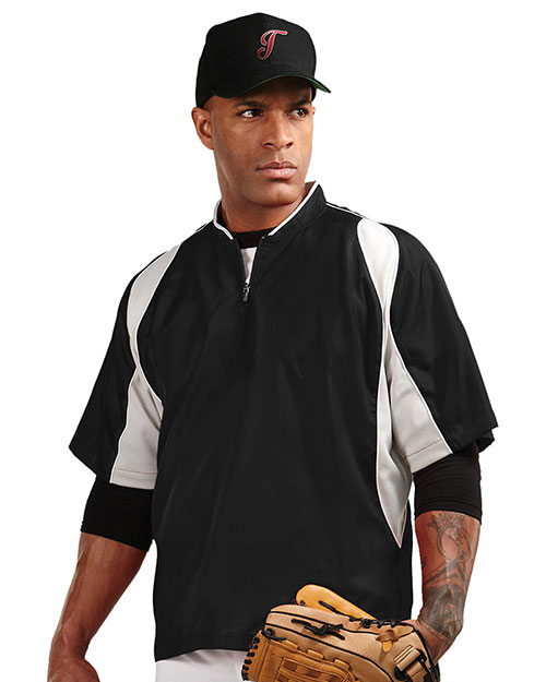 Tri-Mountain J2108 Men 100% Polyester S/S 1/4 Zip Baseball Warmup Shirt Black/Silver at bigntallapparel
