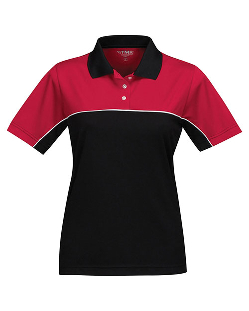 Tri-Mountain KL908 Women 100% Polyester Color Blocking Polo Shirt Red/Black at bigntallapparel