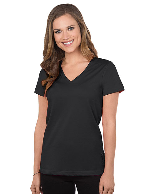 Tri-Mountain 130 Womens Cotton Jersey Short Sleeve V-Neck Knit at bigntallapparel