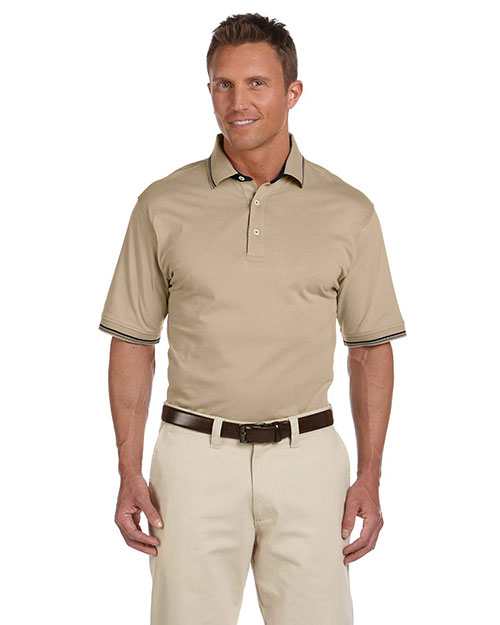 Harriton M140 Mens 59 Oz Cotton Jersey Short Sleeve Polo With Tipping at bigntallapparel