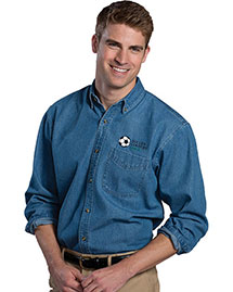 Edwards 1090 Men's Heavy Weight Long Sleeve  Denim Shirt at bigntallapparel