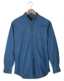 Edwards 1093 Men's Mid-Weight Long Sleeve Denim Shirt at bigntallapparel
