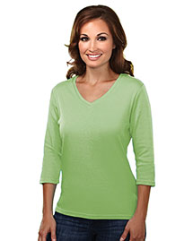Tri-Mountain 131 Women WoCotton Interlock 3/4 Sleeve V-Neck Knit