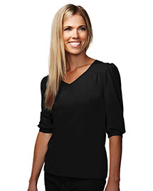 Tri-Mountain 137 Women Cotton/Poly 60/40 V Neck Knit Shirt, W/ Gathering @ Yoke/Cuff/Shoulder