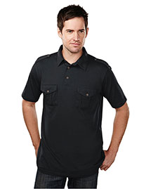 Tri-Mountain 187 Men Cotton/Poly 60/40 Knit Polo Shirt, W/ Epaulette at bigntallapparel