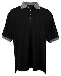 Tri-Mountain 197 Big And Tall Mens  Pique Pocketed Polo Golf Shirt With Jacquard Trim at bigntallapparel