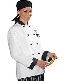 Edwards 3303 Women Classic 10 Black Button Chef Coat With  Trim