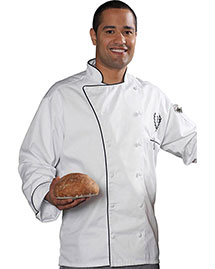 Edwards 3308   Executive 12 Cloth Button Chef Coat W/Black Trim