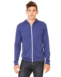 Bella 3939 Men Triblend Full-Zip Lightweight Hoodie