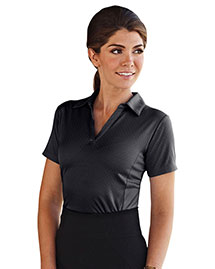 Tri-Mountain 413 Women 100% Polyester Knit Polo Shirt, W/ Yarn-Dye Plaid & Self Collar