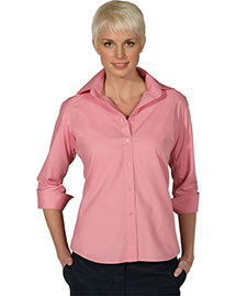 Edwards 5040 Women Open Neck Poplin 3/4 Sleeve Blouse