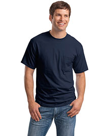 Hanes 5190 Men Beefy 100% Cotton T Shirt With Pocket