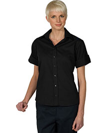 Edwards 5245 Women's Open Neck Poplin Short Sleeve Blouse at bigntallapparel