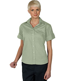 Edwards 5245 Women WoOpen Neck Poplin Short Sleeve Blouse