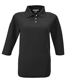 Tri-Mountain 601 Women 60/40 Pique 3/4 Sleeve Golf Shirt