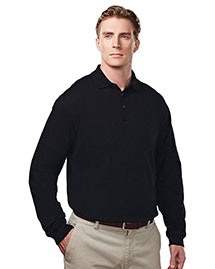 Tri-Mountain 614 Men's Cotton/Poly 60/40 Knit Ls Polo Shirt, W/ Mic Loops & Pen Pocket at bigntallapparel