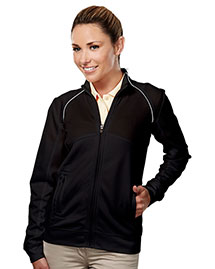 Tri-Mountain 625 Women 100% Polyester Full Zip Ls Knit Shirt