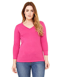 Bella 6425 Women Missy Jersey 3/4-Sleeve V-Neck T-Shirt