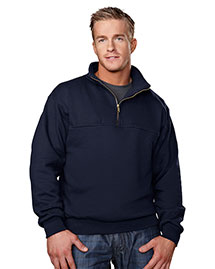Tri-Mountain 644 Men Cotton/Poly 1/4 Zip Firefighters Work Shirt at bigntallapparel