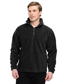 Tri-Mountain 7550 Big And Tall Mens 1/4 Zip Panda Fleece Jacket With Trim at bigntallapparel