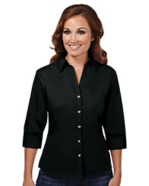 Tri-Mountain 763 Womens 60/40 Stain Resistant Open Neck 3/4 Sleeve Shirt at bigntallapparel