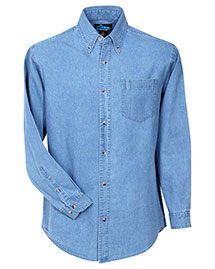 Tri-Mountain 830 Men Heavyweight Denim Long Sleeve Shirt